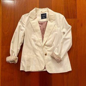 American Eagle White Linen Blazer Medium
